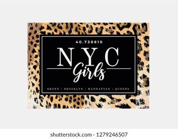 NYC girls slogan on leopard pattern background