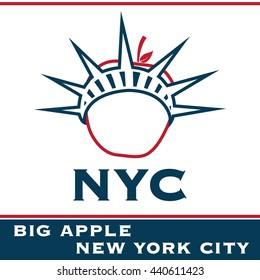 NYC logo. Vector and illustration.  T-shirt logo. Cap logo. New York City. Big apple design.