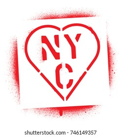 ''NYC'' (New York City abbreviation) in heart. Red spray graffiti stencil.
