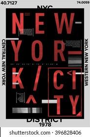 NYC / NEW YORK DISTRICT / Stock Vector Illustration: T-Shirt Design / Print Design