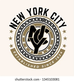 NYC slogan in circle shape graphic with black circle chain illustration