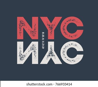 NYC t-shirt and apparel design with textured lettering. Vector print, typography, poster, emblem.