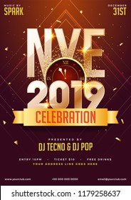 NYE (New Year Eve) 2019 Party Celebration template design with time and venue details.