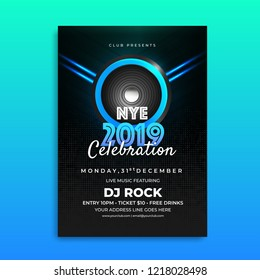 NYE (New Year Eve) 2019 Celebration template design with time, date and venue details.