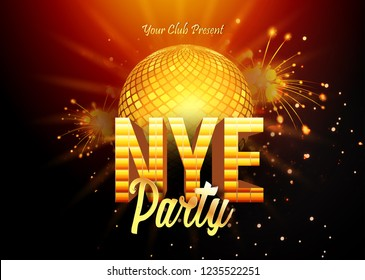 NYE (New Year Eve) 2019 Party Celebration template design with black background