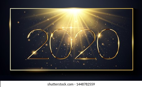 NYE (New Year Eve) 2020. Happy New Year 2020 winter holiday greeting card design template. Party poster, banner or invitation gold glittering stars falling snowflakes glitter decoration. xmas, vector