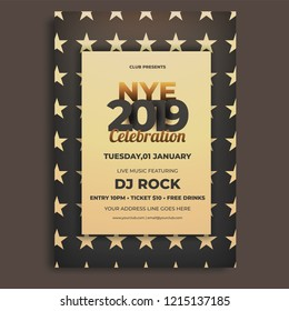 NYE (New Year Eve) invitation card or template design with date, time and venue details.