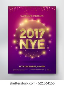 NYE, New Year Eve template flyer or invitation design. Vector