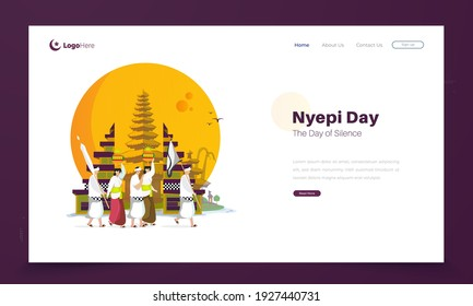 Nyepi day or day of silence for Hindu ceremonies in Bali, Hindu religious ceremonial parade