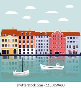 Nyhavn Copenhagen Denmark landmark vector cartoon illustration, danish decorative flat background, colorful building on river, architecture historic sight attraction, Travel sightseeing landscape