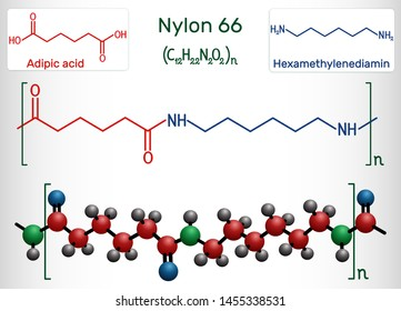 Nylon 66 or nylon molecule. It is plastic polymer. Structural chemical formula and molecule model. Vector illustration