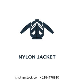 Nylon Jacket icon. Black filled vector illustration. Nylon Jacket symbol on white background. Can be used in web and mobile.