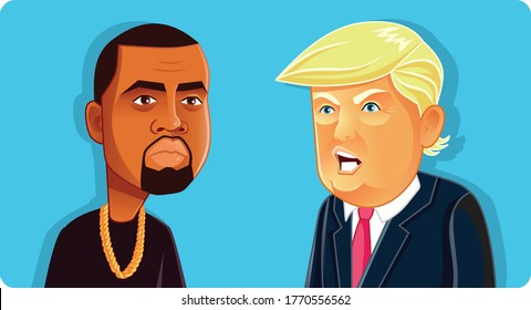N.Y.,U.S. July 6, 2020, Donald Trump and Kanye West Vector. Vector drawing of presidential candidates for 2020 American Elections