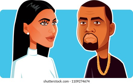 N.Y.,U.S. June 9, 2018, Kim Kardashian and Kanye West Vector Caricature