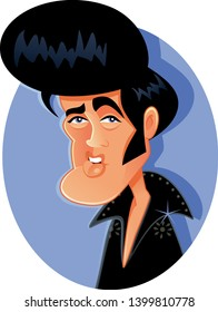 N.Y.,U.S. May 17, 2019, Elvis Presley Vector Caricature. Funny portrait of famous pop culture rock music icon