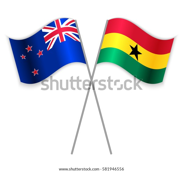 NZ and Ghanaian crossed flags. New Zealand combined with Ghana isolated on white. Language learning, international business or travel concept.