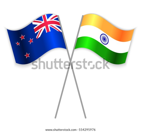 Nz Indian Crossed Flags New Zealand Stock Vector (Royalty