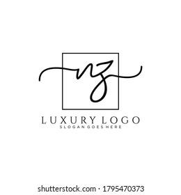 NZ Initial handwriting logo template vector