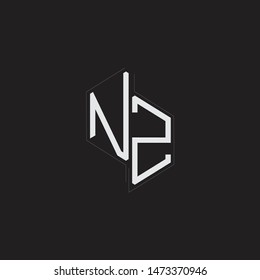 NZ Initial Letters logo monogram with up to down style isolated on black background
