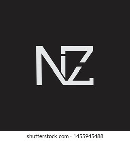 NZ initial logo Capital Letters black background