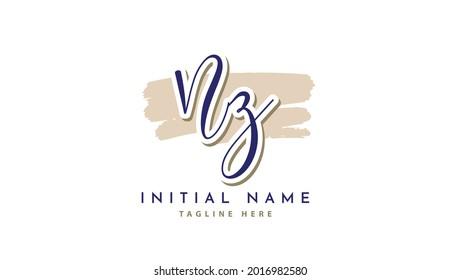 NZ Initials, handwriting logo vector