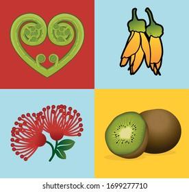 NZ Kiwiana fruit flowers heart