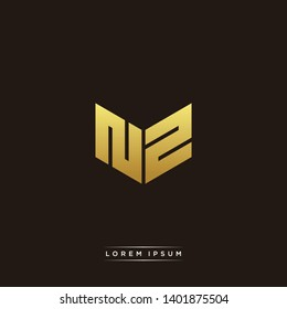 NZ Logo Letter Initial Logo Designs Templete with Gold and Black Background