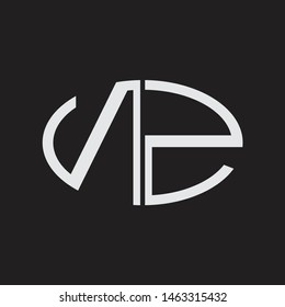 NZ Logo letter oval monogram design template with black and white colors