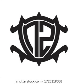 NZ Logo monogram isolated with frame shield shape design template
