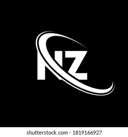 NZ logo. N Z design. White NZ letter. NZ/N Z letter logo design. Initial letter NZ linked circle uppercase monogram logo.