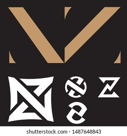 NZ logo set. letter based vector