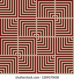 NZ Maori inspired red and black Tukutuku line seamless repeating pattern