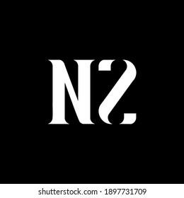 NZ N Z letter logo design. Initial letter NZ uppercase monogram logo white color. NZ logo, N Z design. NZ, N Z