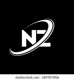 NZ N Z letter logo design. Initial letter NZ linked circle uppercase monogram logo red and blue. NZ logo, N Z design. nz, n z