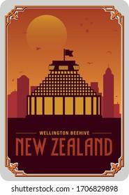 NZ Wellington Beehive Parliament Postcard