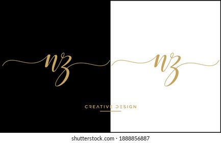 NZ, ZN Alphabet Letters Abstract Logo Vector Template
