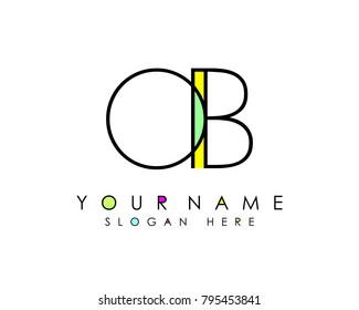 O & B initial minimalist logo template vector