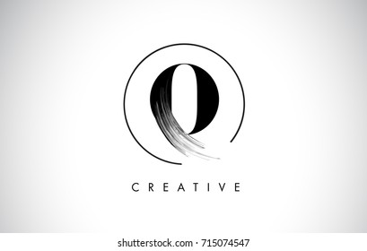 O Brush Stroke Letter Logo Design. Black Paint Logo Leters Icon with Elegant Circle Vector Design.