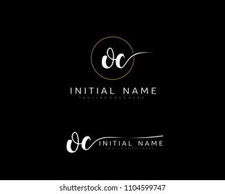 O C Initial handwriting logo vector. Hand lettering for designs.