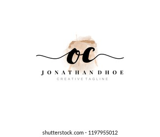 O C OC Initial watercolor logo on white background. Logo template vector