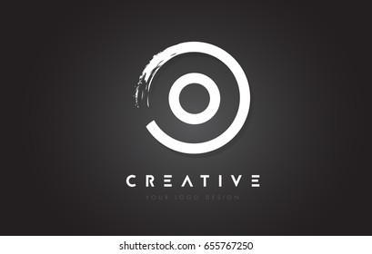 O Circular Letter Logo with Circle Brush Design and Black Background.