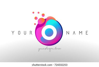 O Dots Letter Logo With Bubbles. A Letter Design Vector with Vibtant Blue Orange Magenta Colors Particles Shapes.