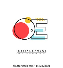 O E Memphis letter style, initial logo template vector full color.
