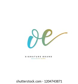 O E OE Initial letter handwriting and  signature logo concept design