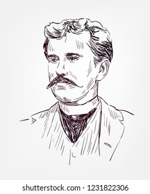O Henry William Sydney Porter novelist sketch style vector portrait