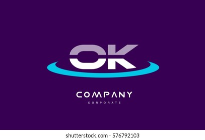 o k ok cyan magenta blue letter combination alphabet vector company logo icon sign design template