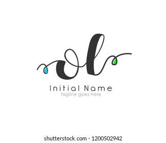 O L OL Initial handwriting logo vector template