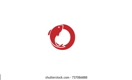 O Letter Alphabet Abstract Logo design with embedded fish icon design vector