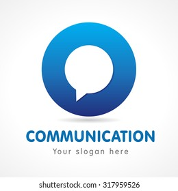 O letter communication logo. Business or educational consult, blue colored volume sign. FAQ, I.Q., contact us, computer or smartphone settings, speak icon. Branding identity.