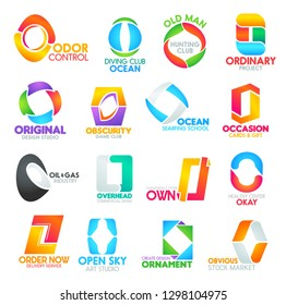 O letter corporate identity icons and signs. Commercial studios, banks, odor control, diving ocean, old hunting club. Ordinary project, original obscurity, ocean occasion, oil and own ornament design